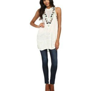 FREE PEOPLE Adella Embroidered Top in Ivory - S,M
